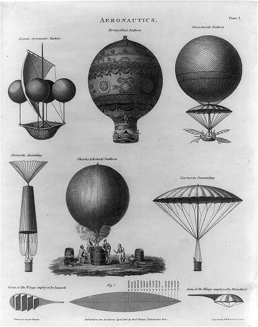Early balloon designs. Montgolfier's hot air design is shown center of top row and Charles and Robert's center of the lower row. (Photo credit: Library of Congress)