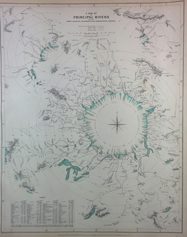 Principal Rivers by SDUK, 1834. Rivers shown by direction of flow emptying into central sea. (Own work)