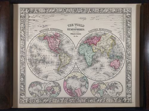 Mitchell's 1860 'The World in Hemispheres.' Note comparative features in the upper corners.