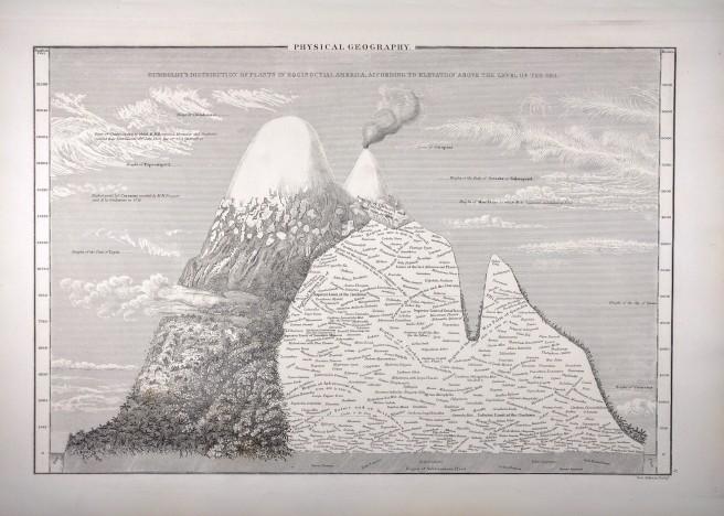 Black and white print c1840s of Chimborazo, inspired by Humboldt.