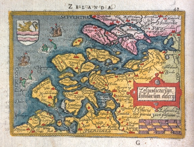 Antique map of Zelanda (Zeeland, The Netherlands) by Ortelius c1590.