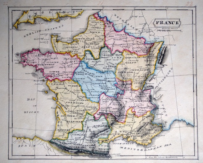 Manuscript schoolgirl map of France from the 1800's.
