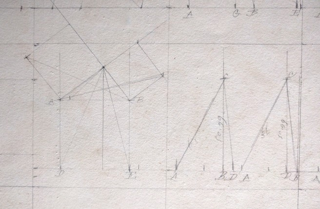 Trigonometric proof on the verso of a manuscript map. This proof suggests that this map was drawn in an educational environment.