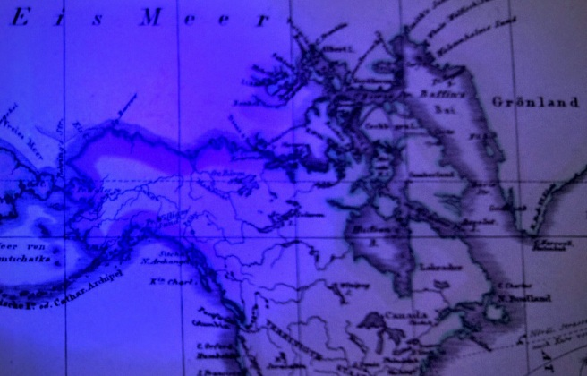 Photo of North America as shown on Perthes Planiglob in Mercators Projection world map c 1853, illuminated with UV.