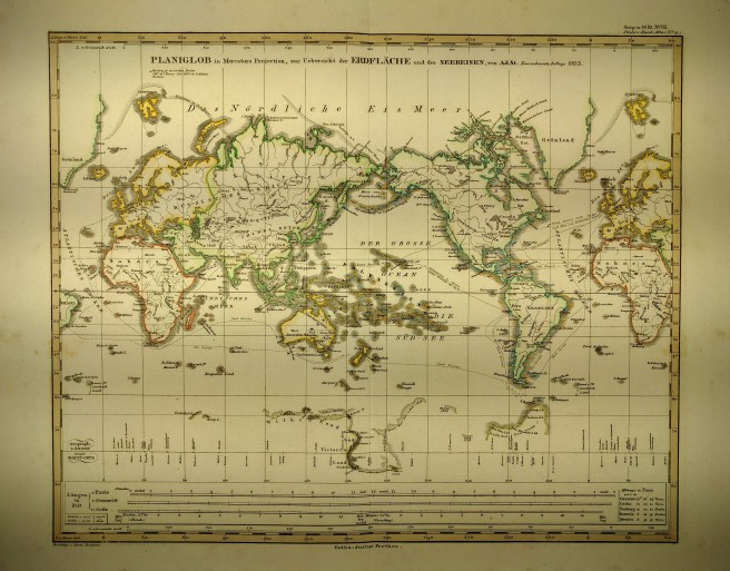 Photo of 1853 Mercator projection world map by Justus Perthes.