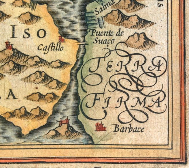 Inset of Bertius 1616 Bay of Cadiz map. The mountains, rivers, and Terra Firma are color coded.