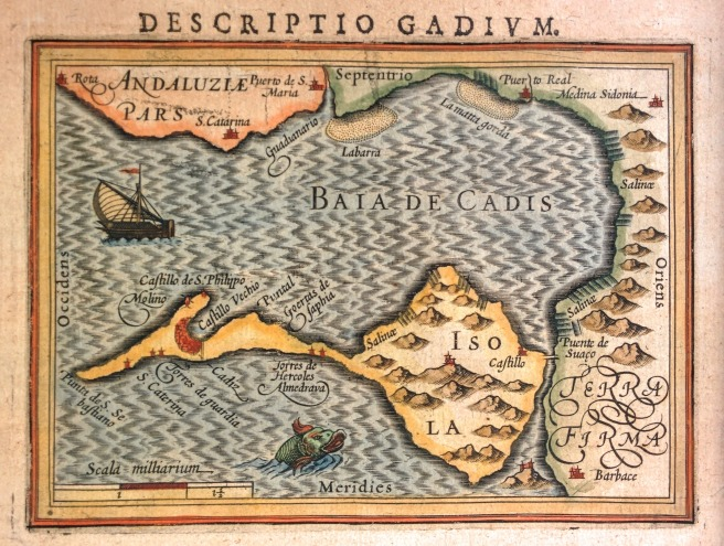 Photo of map of Bay of Cadiz c1616 featuring ships and sea monsters.