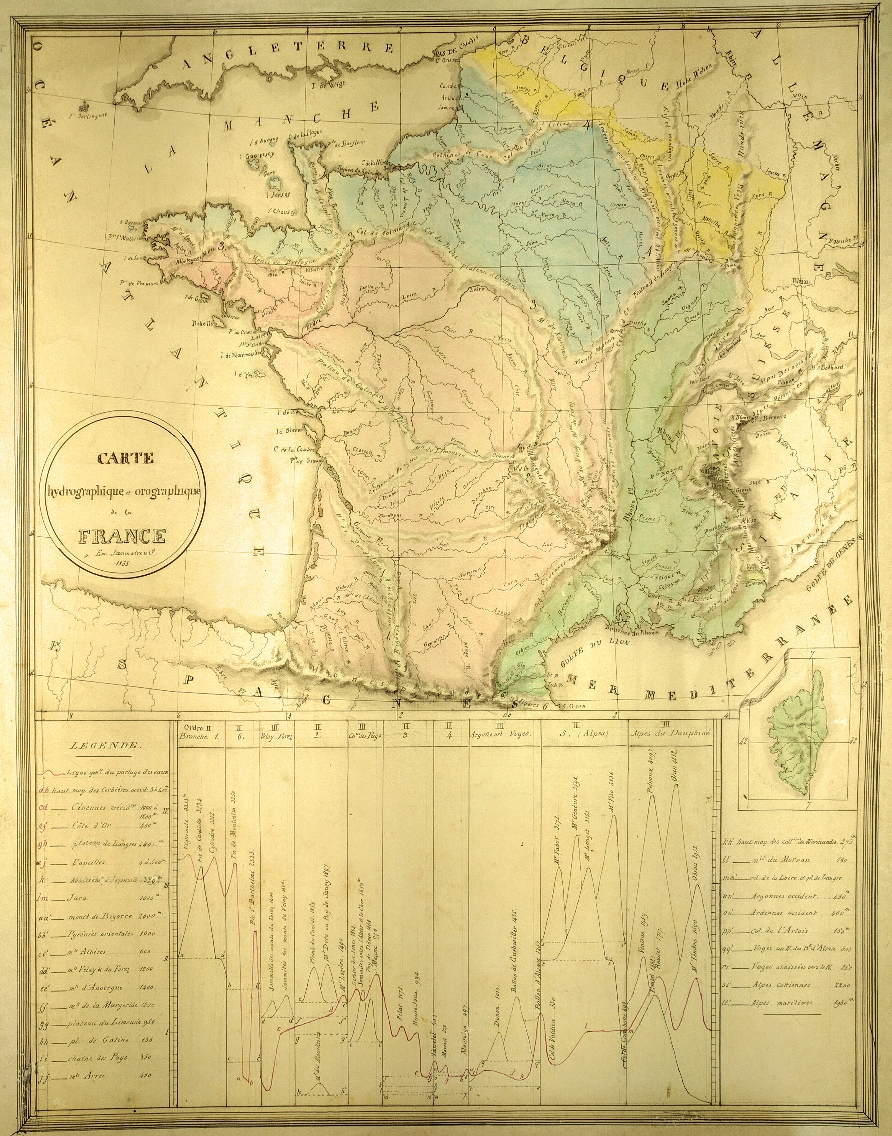 Map Of France With Mountains.Manuscript French Mountains Chart Peter Roehrich