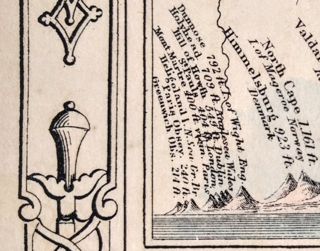 Photo showing detail of Johnson's comparative view of mountains and rivers by continent. The Greenwich and Paris Observatories are visible on the left.