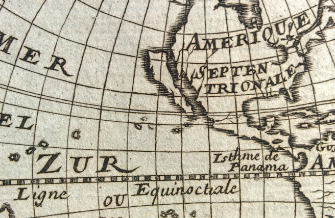 Photo of map of the Americas showing California as an island.